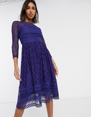 ASOS DESIGN Premium lace midi skater dress in navy