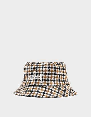 Stussy Big Logo Check Plaid Bucket Hat in Mustard