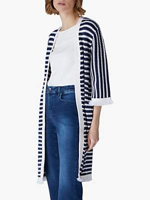 Jaeger Stripe Knit Long Cardigan, Blue/White