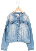 Junior Gaultier Girls' Collarless Denim Jacket w/ Tags