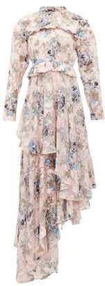 Preen by Thornton Bregazzi Caylee Floral Devore-satin Tiered Maxi Dress - Pink Print