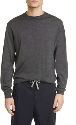 Eleventy Fine Gauge Merino Wool & Silk Crewneck Sweater