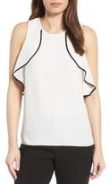 Petite Women's Halogen Ruffle Shoulder Top