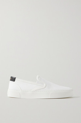 Saint Laurent Venice Leather-trimmed Canvas Slip-on Sneakers - White