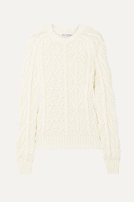 Paco Rabanne Leather-appliqued Cable-knit Cotton Sweater - Ivory