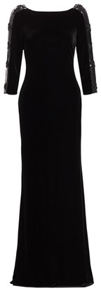 Badgley Mischka Sleeveless Embellished Velvet Dress