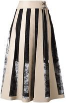 Christopher Kane striped lace embroidery skirt - women - Polyurethane/Polyester/Polyamide/Silk - 40
