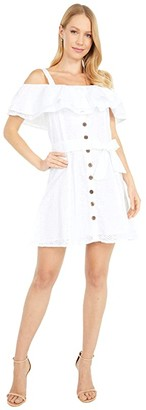 Rock and Roll Cowgirl Ruffle Lace Dress D5-5140 (White) Women's Dress
