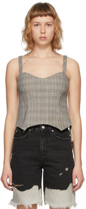 Sjyp Grey and Beige Check Bustier Tank Top