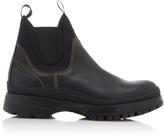 Prada Paneled Neoprene And Leather Chelsea Boots