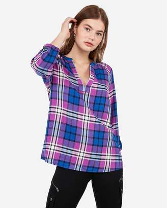 Express Purple Plaid Deep V Pullover Flannel