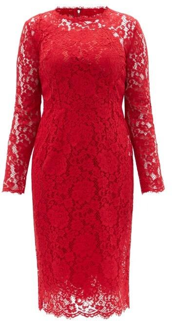 Dolce & Gabbana Cordonetto-lace Sheath Midi Dress - Red