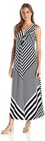 NY Collection Women's Sleeveless Flattering Striped Maxi Dress with Bar Trim