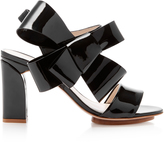 DELPOZO Bow-Embellished Patent-Leather Sandals