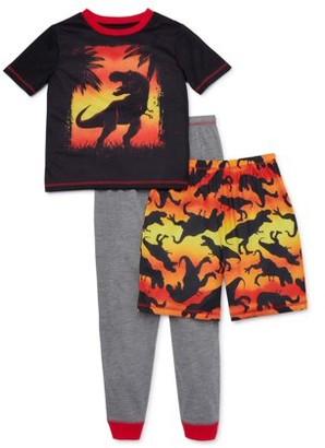 Komar Kids Saint Eve Boys Short Sleeve, Long Pant and Short, 3-Piece Pajama Set Sizes 4-16