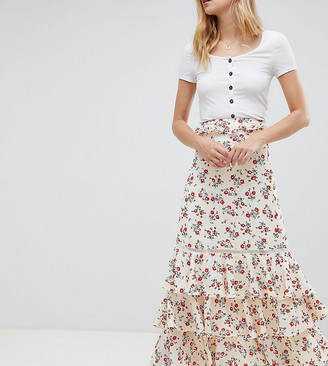 Glamorous Tall tiered floral maxi skirt-Cream