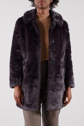Des Petits Hauts Navy Faux Fur Leontin Coat - SMALL