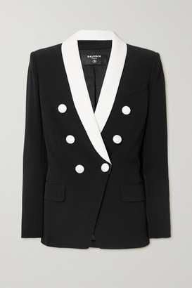 Balmain Double-breasted Two-tone Crepe Blazer - Black