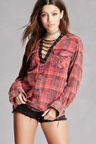 Forever 21 Trendy & Tipsy Faded Plaid Shirt