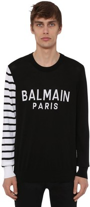 Balmain Logo Cotton Knit Crewneck Sweater