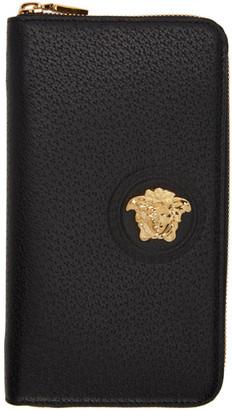 Versace Black Medusa Zip-Around Wallet