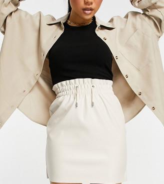 Vero Moda Petite coated mini skirt in cream