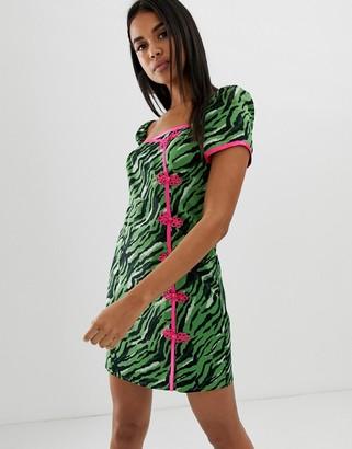 Asos Design DESIGN sweetheart mini dress in zebra print with contrast neon trim-Multi