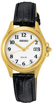 Seiko SUT254 Solar, Goldtone Stainless Steel Black Leather Strap Watch