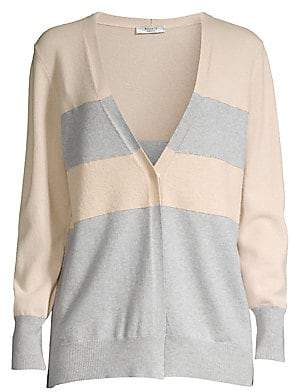 Peserico Women's Colorblock Striped Wool, Silk & Cashmere Cardigan