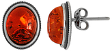 Goldmajor Sterling Silver Amber Oval Stud Earrings, Cognac/Silver
