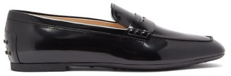 Tod's Square Toe Leather Loafers - Womens - Black