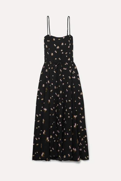 Vince Floral-print Crinkled-crepe Midi Dress - Black