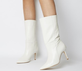 Office Koffee Pointed Calf Boots Off White Leather