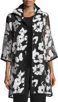 Caroline Rose Flutter Devore Sheer-Sleeve Topper, Black/White, Plus Size