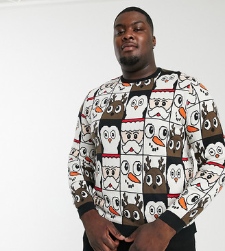 ASOS DESIGN Plus christmas sweater in all over design