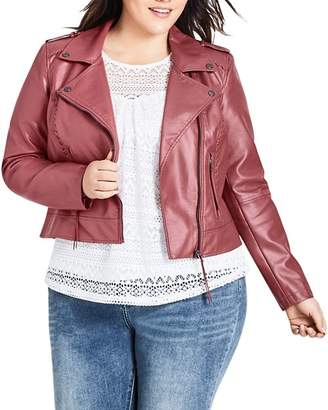 City Chic Plus Whipstitched Faux-Leather Moto Jacket