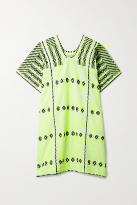 Pippa Net Sustain Embroidered Striped Neon Cotton Huipil - Bright yellow