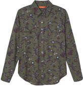 Joe Fresh Women's Floral Button Down Shirt, Khaki Green (Size S)