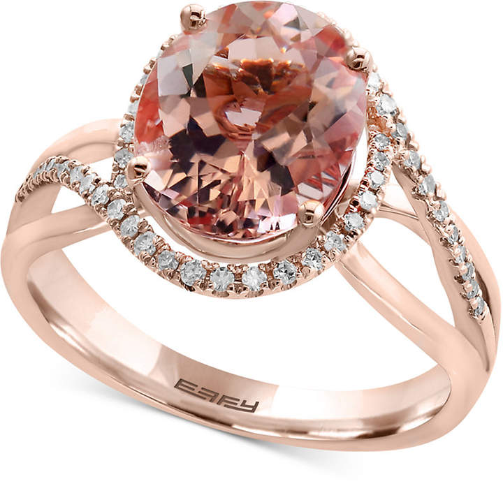 Effy Blush by Morganite (3-1/3 ct. t.w.) and Diamond (1/5 ct. t.w.) Ring in 14k Rose Gold