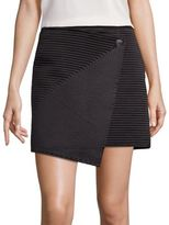 Halston Textured Faux Wrap Skirt