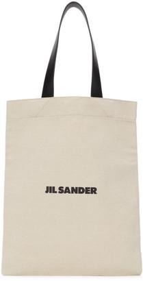 Jil Sander SSENSE Exclusive Off-White Medium Flat Shopper Tote