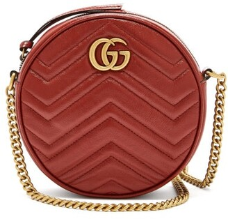 Gucci GG Marmont Circular Leather Cross-body Bag - Red