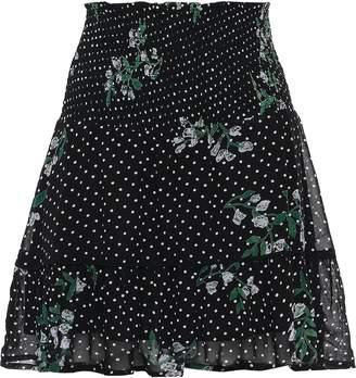 Ganni Rometty Shirred Printed Georgette Mini Skirt