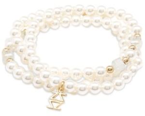 Zenzii Gold-Tone Logo-Charm Imitation Pearl Coiled Stretch Bracelet