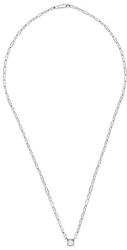 Dinh Van 18K White Gold Le Cube Diamant Large Chain Necklace with Diamond, 17.7