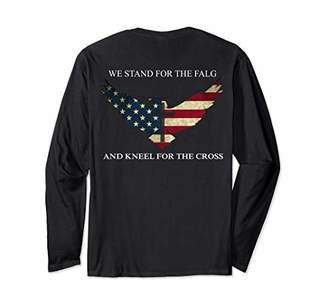 We Stand For The Flag And Kneel For The Cross Veteran back Long Sleeve T-Shirt