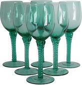 One Kings Lane Vintage Blown Glass Wine Stems, S/6