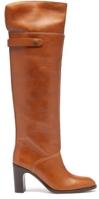 See by Chloe Topstitched Over-the-knee Leather Boots - Tan