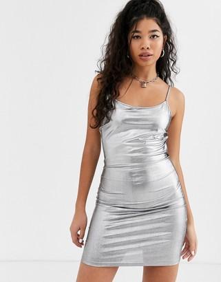 Noisy May silver foil cami mini dress