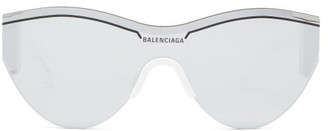 Balenciaga Ski Cat Shield Acetate Sunglasses - Womens - White Silver